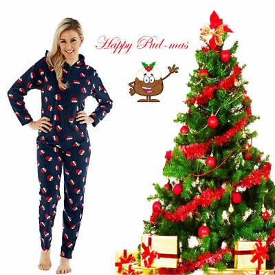 Women Happy Pudmas Hooded All in One Pyjamas Set Fleece Xmas Sleepsuit Nightwear