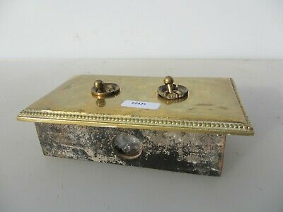 Victorian Brass Ceramic Double Light Switch Antique Old Art Deco Vintage Beading