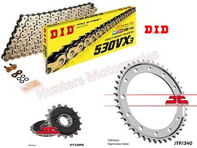 Honda VFR800 VTec DID Gold X-Ring Chain & JT RB Sprocket Kit Set