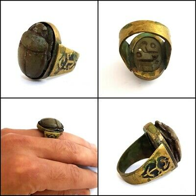 Hieroglyphic Charm Ancient Egyptian Antiquities Ring With Scarab Beetle Figurine