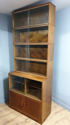Vintage Oak Oxford Minty Sectional Bookcase Cupboard 6 Piece Solicitor Bookcase