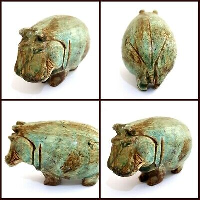Rare Statue Glazed Hippo Egyptian Antique hippopotamus Amulet Blue Nile Figurine