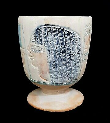 Unique Ancient Egyptian Antique Vase  Figurine Vessel Antique Stone Faience