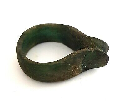 Very Rare Ring Egyptian Antique Thumb Amulet Ancient Egypt Porcelain Faience