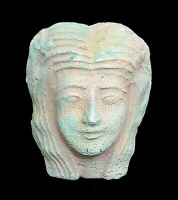 rare hathor egypt goddess statuette ancient genuine antique bust 450 BC Faience