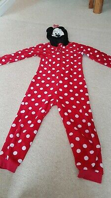 Girls Minnie Mouse Red Fluffy All In One piece Sleep Suit 9-10 Red Hood