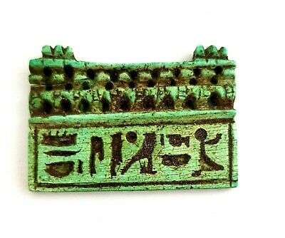 Charming Amulet Ancient Egypt Antiques Blue Faience W/T Hieroglyphics VERY RARE