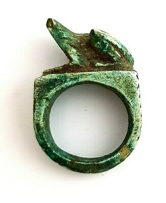 Royal Ring Bust Figurine Egyptian Antique Amulet Faience Ancient Civilization