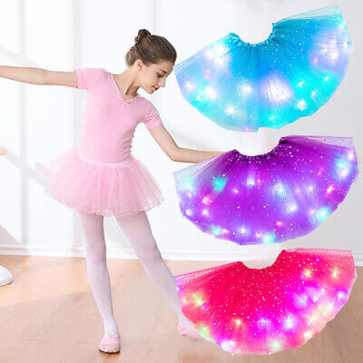 Girls Tutu Skirt Stars Sequin Fluffy Magic Light Princess Clothes Ballet Dance