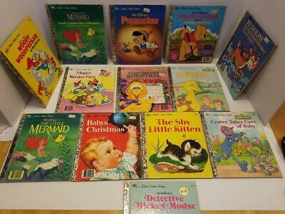 Little Golden Books Lot of 13 Unsorted Mixed Titles Christmas/Mickey/Little Merm