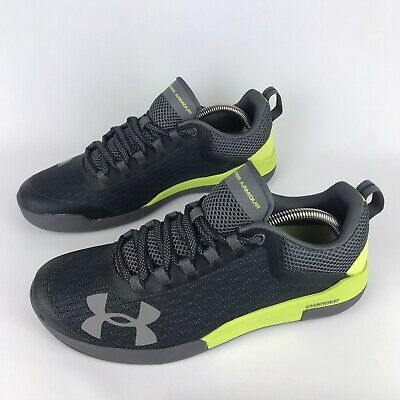 Under Armour Charged Legend Trainers Fitness Gym Grey Yellow Men's UK Size 8