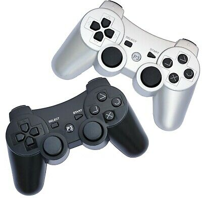 2x Wireless Remote PS3 Controller Gamepad 4 use with PlayStation3 Black/Silver