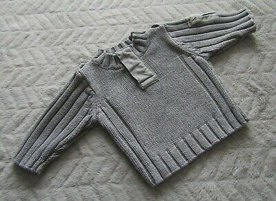 Next Baby Boys 3-6 Months Kids Clothes Grey Long Sleeve Knit Cardigan Jumper