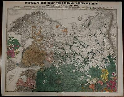 Russia Baltic 1878 Ethnographic map by Petermann large rare detailed colorful