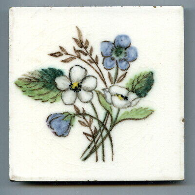 """Hand painted 4""""sq vintage tile by Dunsmore Tiles, 1957"""