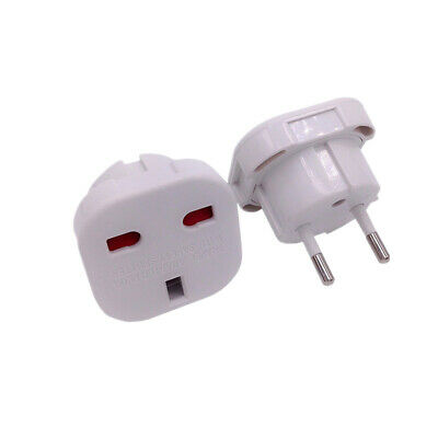1pc Adaptador Blanco Red Enchufe UK Ingles Reino Unido a Europeo UE Schuko HOT