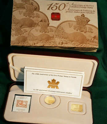 2001 CANADA 3 cent gold plated silver - 150th anniversary of Canada's 1st stamp