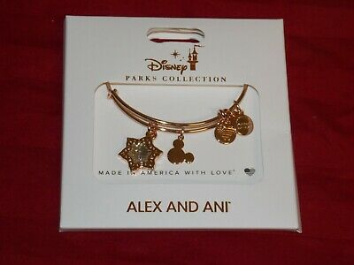 Disney Parks ALEX AND ANI Mickey Christmas Snowflake GOLD Bangle Bracelet New