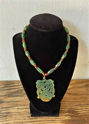 Vintage Chinese Carved Green Jade & Carnelian Bead Necklace & Pendant- Hong Kong