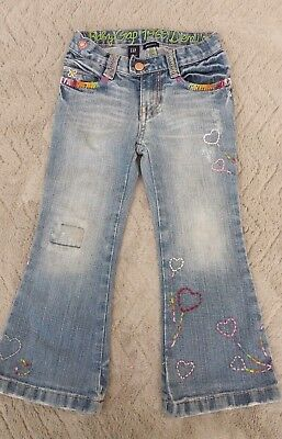 Gap Girls 3-4 Years Kids Clothes Cotton Embroidered Denim Jeans Trousers Pants