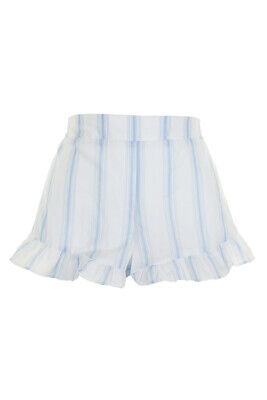 Miken Swim White Blue Striped Ruffled Cover-Up Shorts L