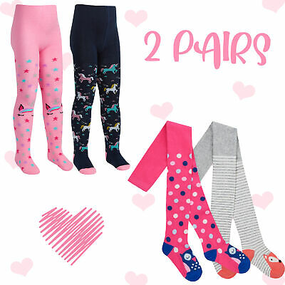 2 Pairs Kids Girls Tights 2-3 3-4 5-6 7-8 Animal Owl Dots Fox Striped Cotton UK