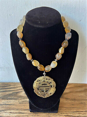 Vintage Chinese Quartz Bead Necklace w/ Antique Carved Jade Pendant - Hong Kong