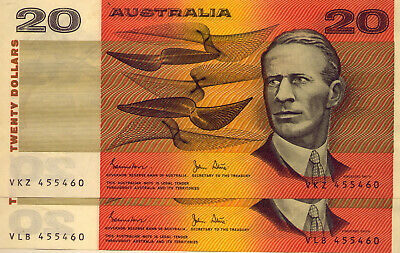 2 x $20 UNIQUE NOTES: IDENTICAL NUMBERS!!!!  JOHNSTON & STONE:   NO  RESERVE!
