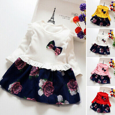 Toddler Kids Baby Girls Long Sleeve Flower Tulle Skirts Dresses Clothes Set
