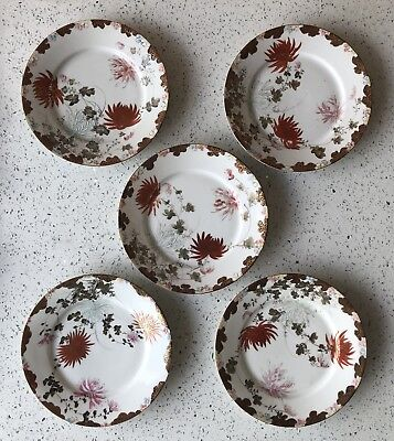SET OF FIVE (5) Antique Japanese Porcelain Kutani Plates Flowers Gilt Red SIGNED
