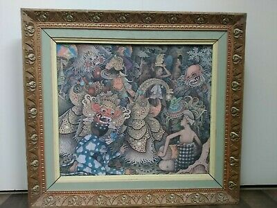 Balinese  painting original vintage signed carved wooden frame