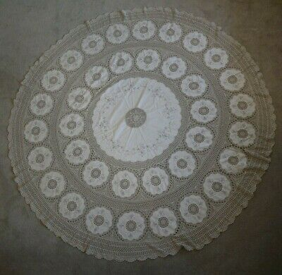 Large round tan color tablecloth vintage crochet & embroidered linen 200cm APPOX