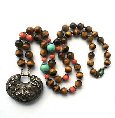 Chinese Tigers Eye Quartz, Coral, Turquoise, Enamel Silver Lock Pendant Necklace