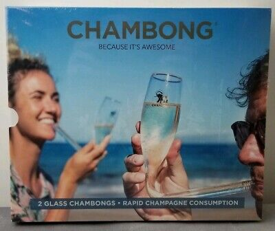 Chambong HAND BLOWN Glass Chambongs Champagne 6 Oz Shooters SET OF 2 Gift NEW