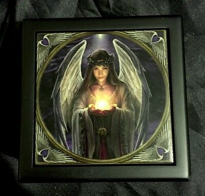 "Anne Stokes Square Tiled Lid Wooden Box, Velvet Lining ""Yule Angel"""