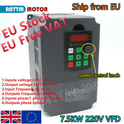 (EU)7.5KW 10HP 220V 34A VFD Variable Frequency Drive Inverter single/3 phase VSD