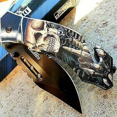 "8"" Skull SPRING ASSISTED FOLDING TACTICAL KNIFE Blade Pocket Open 3CR13 Steel"