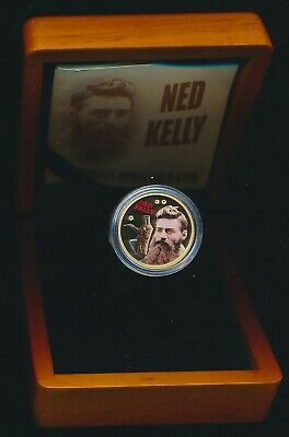 Cook Islands 2004 $25 Proof 1/4oz .9999 Gold Coloured Ned Kelly