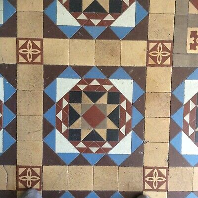 Minton Hollins Victorian  Mosaic Floor Tiles Rare Colours 6m
