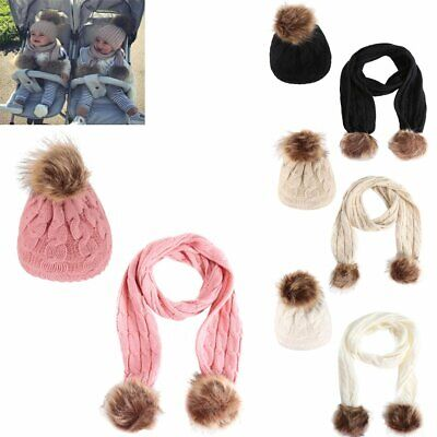 Baby Kids Girls Boys Plus velvet Scarf and Hat Pompon Toddler Winter Warm 1-6Y