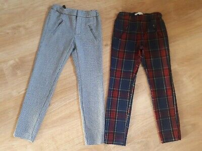 Girls Zara Age 8 Years Trousers tartan Check adustable Waist 7-8