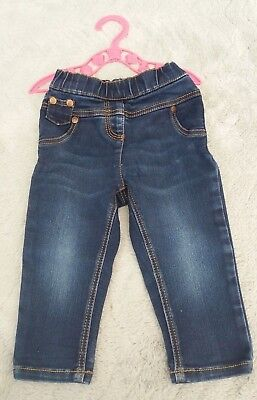 Next Baby Girls 6-9 Months Kids Clothes Denim Skinny Fit Wiped Jeans Trousers