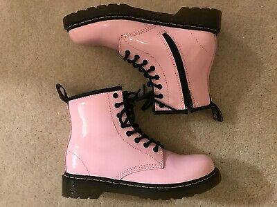 EUC! Youth Girls Doc Martens Ballet Pink Patent Leather Air Wair Boots Sz 3