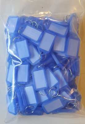 100 Key Tags Blue To Write On, Luggage Tag Key Ring