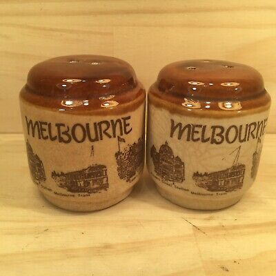 "2pc MELBOURNE ""Brown"" Retro Australian Souvenir Salt & Pepper Shakers"