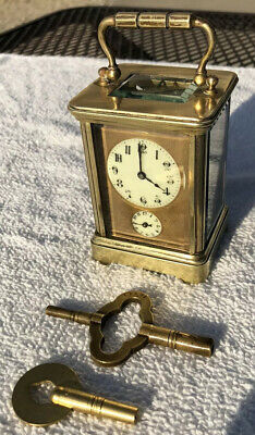1910's Antique French Mantel Shelf Desk Carriage Clock Working With Alarm