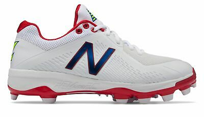 New Balance Low-Cut 4040v4 TPU Baseball Cleat Mens Shoes White with Red