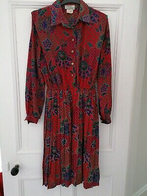 Vintage Retro by lady Carol Paisley Size 12 Midi Dress with Pleated skirt