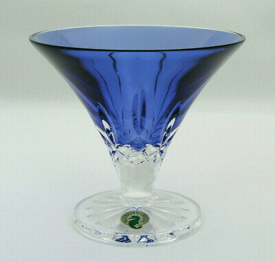 "WATERFORD CRYSTAL - LISMORE 5"" FOOTED BOWL - SAPPHIRE BLUE - SIGNED w/ STICKER"