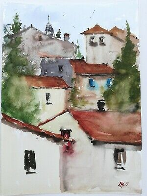 Nº147 Fine Art Original Watercolour Painting Houses in South of France